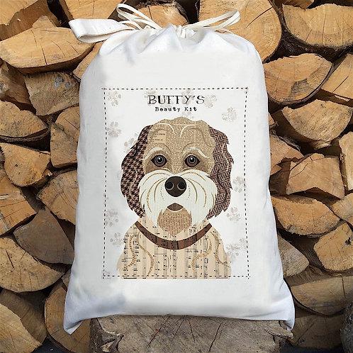 Buff Cockapoo Dog Personalised Large Drawstring Sack