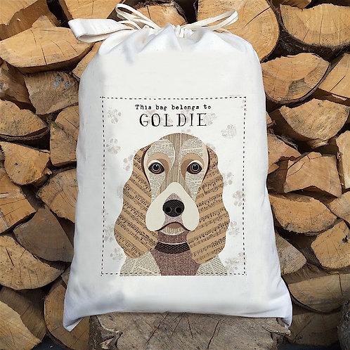 Golden Cocker Spaniel Dog Personalised Large Drawstring Sack