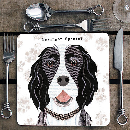 Black & White Springer Spaniel  Placemat/Coaster