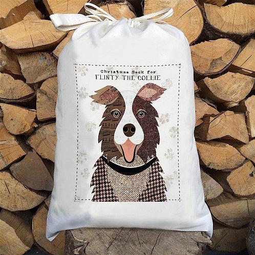 Brown Collie Dog Personalised Large Drawstring Sack