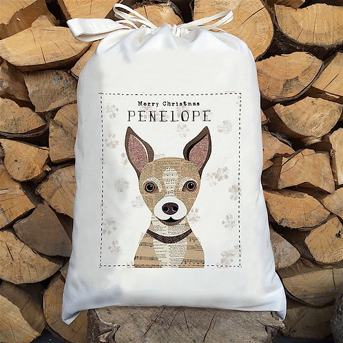 Chihuahua Dog Personalised Large Drawstring Sack