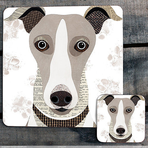 Whippet close up Placemat/Coaster