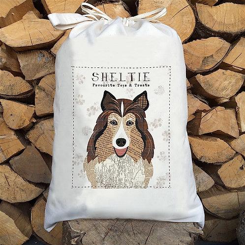 Shetland Sheep Dog Personalised Large Drawstring Sack