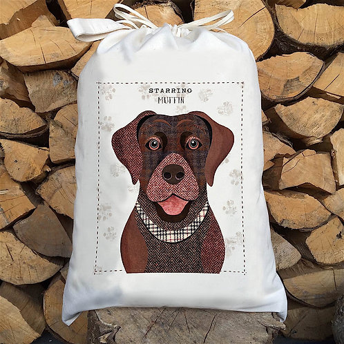 Brown Labrador Dog Personalised Large Drawstring Sack