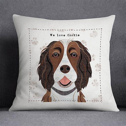 Liver & White Springer Spaniel Dog Cushion