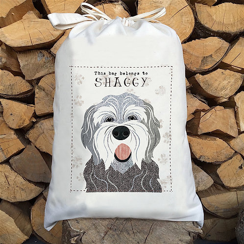 English Sheep Dog Personalised Large Drawstring Sack