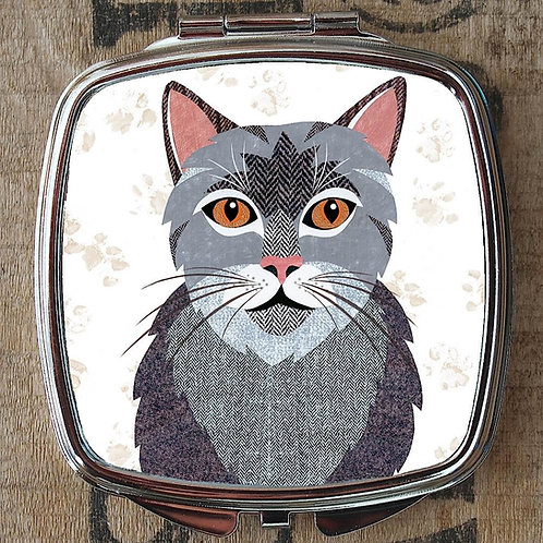 Grey Tabby Cat Compact Mirror