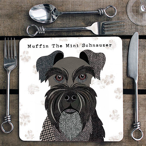 Black Mini Schnauzer Placemat/Coaster