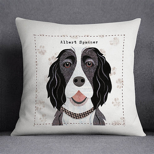 Black & White Springer Spaniel Dog Cushion