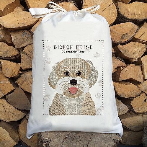 Bichon Frise Dog Personalised Large Drawstring Sack