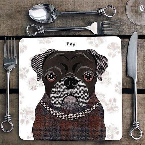 Black Pug dog  Placemat/Coaster