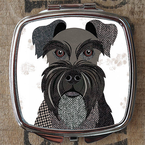 Black Mini Schnauzer Dog Compact Mirror