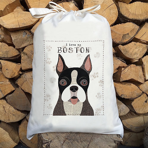 Boston Dog Personalised Large Drawstring Sack