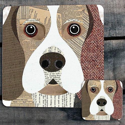 Beagle close up Placemat/Coaster