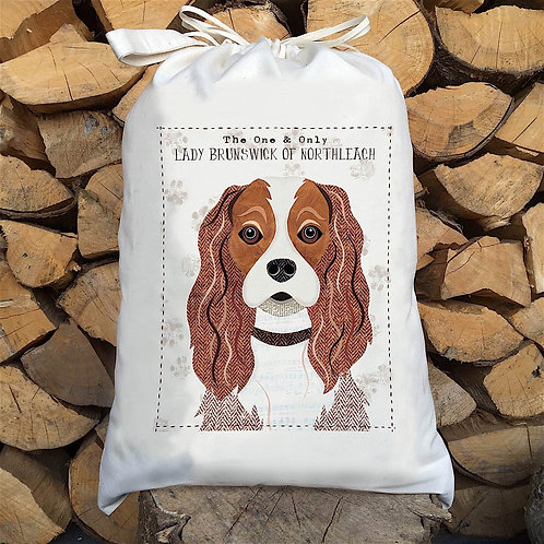 Cavalier King Charles Dog Personalised Large Drawstring Sack