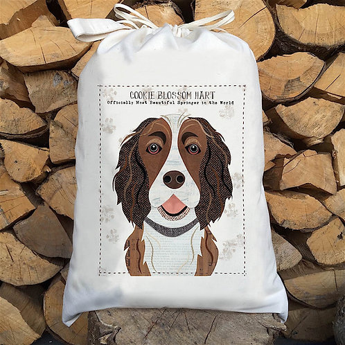 Liver & White Springer Dog Personalised Large Drawstring Sack