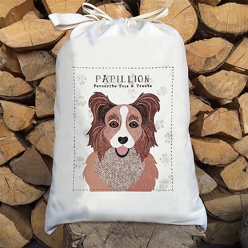 Papillion Dog Personalised Large Drawstring Sack