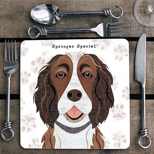 Liver and White Springer Spaniel  Placemat/Coaster