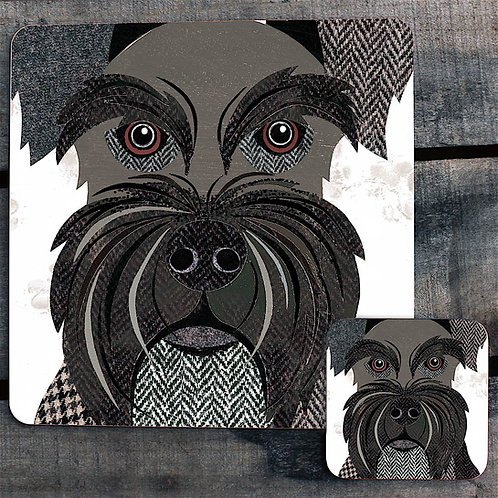 Black Mini Schnauzer Close Up Placemat
