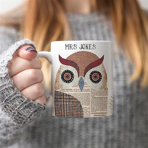 Tweed Owl Mug