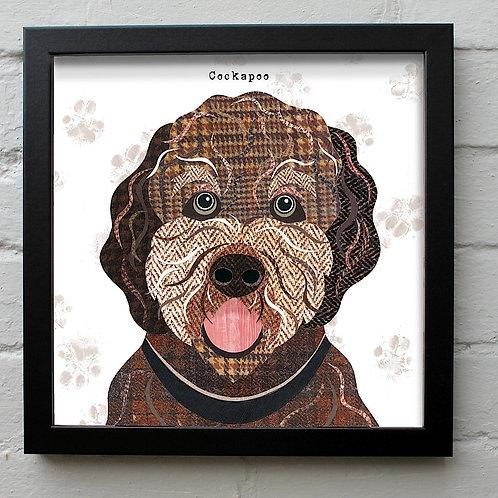 Cockapoo Dog Art Print (Brown Version)