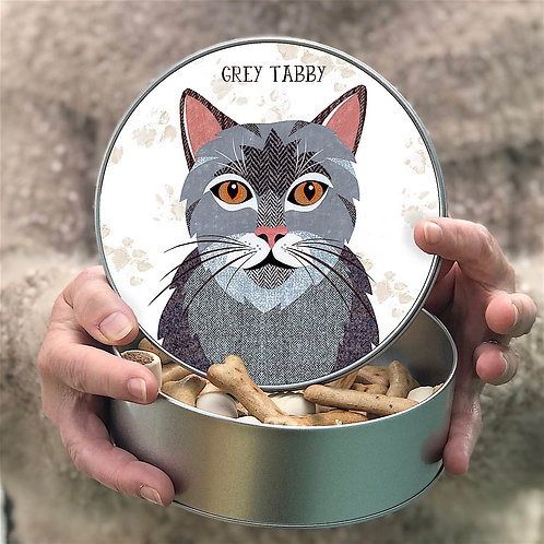 Personalised Grey Tabby Tin