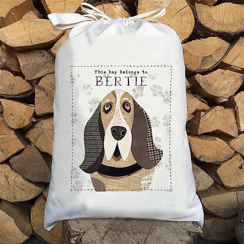 Basset Hound Dog Personalised Large Drawstring Sack
