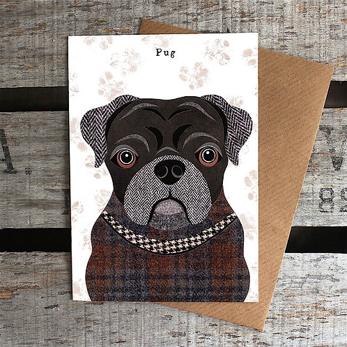 PAW64 Black Pug Card