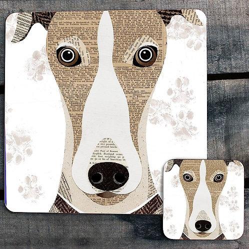 Greyhound close up Placemat/Coaster