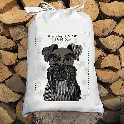 Black Mini Schnauzer Dog Personalised Large Drawstring Sack