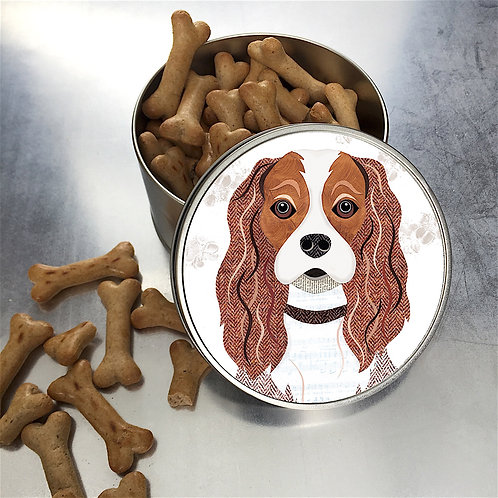 Cavelier King Charles Spaniel Dog Tan/White Tin