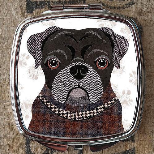Black Pug Dog Compact Mirror