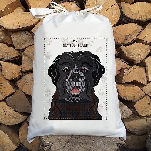 Newfoundland Dog Personalised Large Drawstring Sack