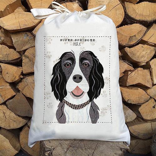 Black & White Springer Dog Personalised Large Drawstring Sack