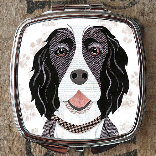 Black and White Springer Spaniel Compact Mirror
