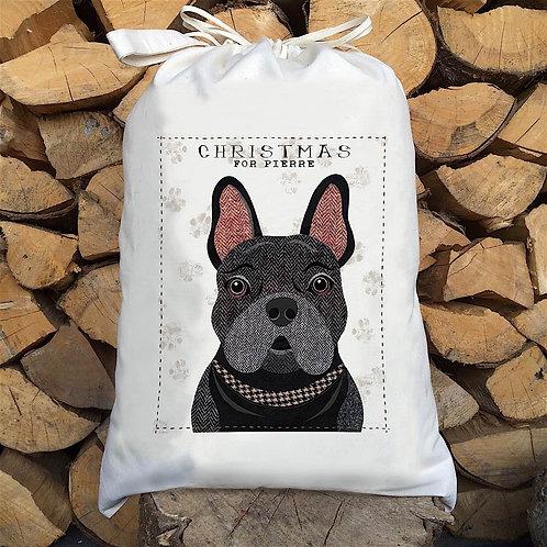 Black Frenchie Dog Personalised Large Drawstring Sack
