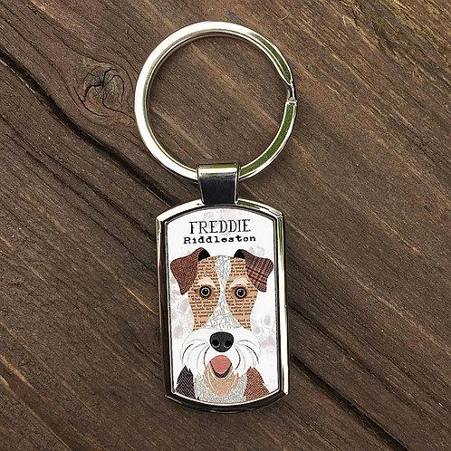 Wire Fox Terrier Personalised Keyring