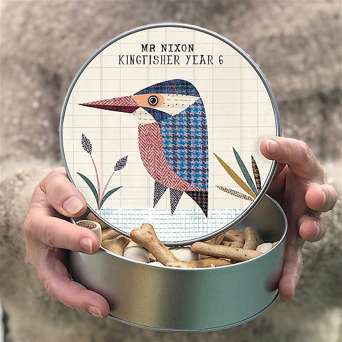 Personalised Tweed Kingfisher Tin