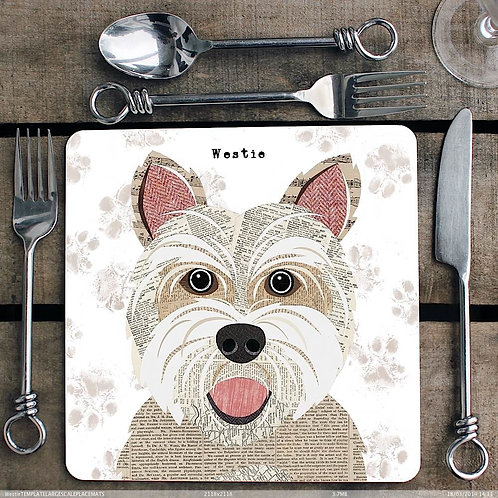Westie Dog Placemat/Coaster