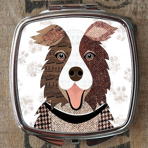 Brown Collie Dog Compact Mirror