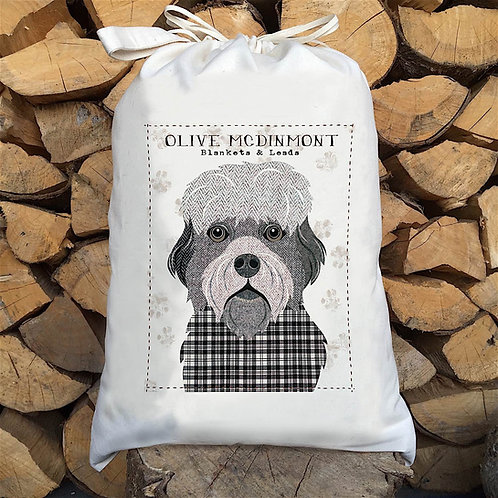 Dandie Dinmont Dog Personalised Large Drawstring Sack