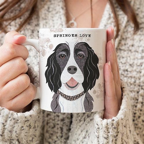 Black & White Springer Spaniel Dog Mug
