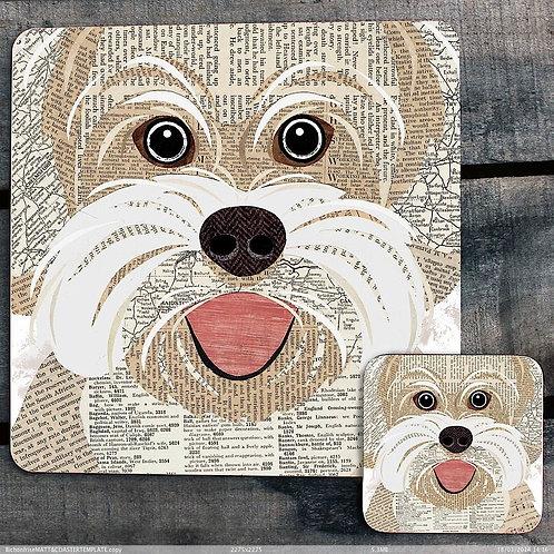 Bichon Frise close up Placemat/Coaster