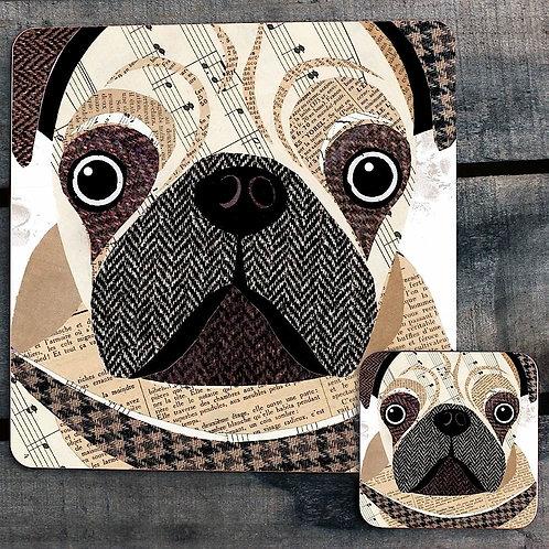 Pug close upPlacemat/Coaster