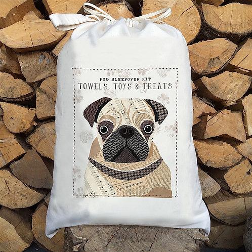 Pug Dog Personalised Large Drawstring Sack