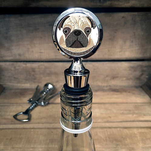Pug Dog Bottle Stopper