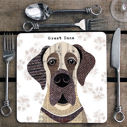 Great Dane (Floppy eared) dog  Placemat/Coaster