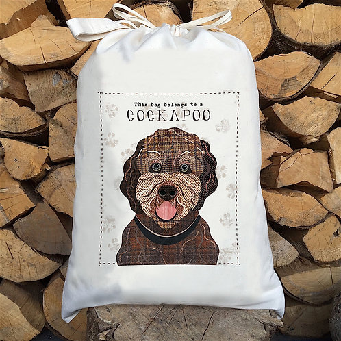 Cockapoo Dog Personalised Large Drawstring Sack