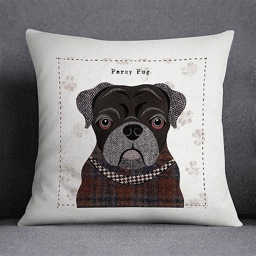 Black Pug Dog Cushion