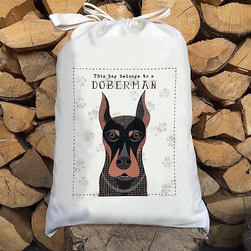 Doberman Dog Personalised Large Drawstring Sack